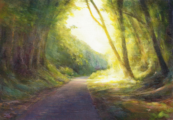 Glowing along the trail  - painting by Jerry Smith