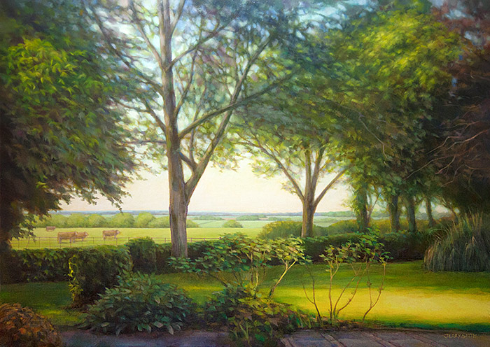 View from the Granary, Upper Swanmore - original painting by Jerry Smith