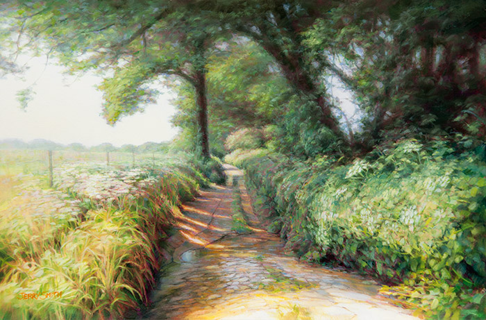Path near Peake Farm  - painting by Jerry Smith