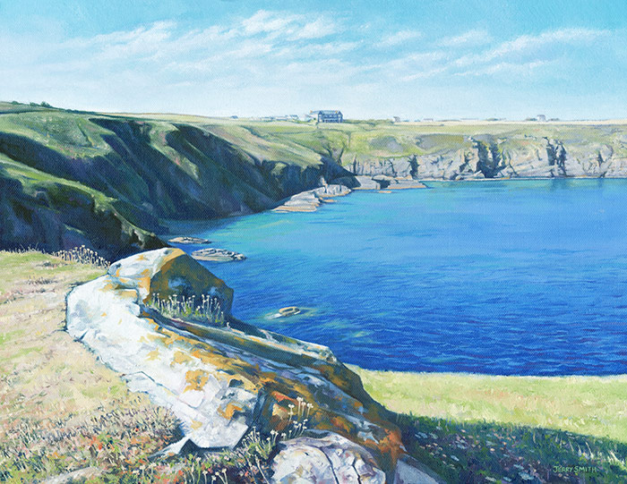 Housel Bay and the Hotel, Cornwall - original painting by Jerry Smith