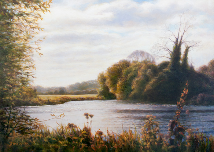 River Test in Late Autumn - original painting by Jerry Smith