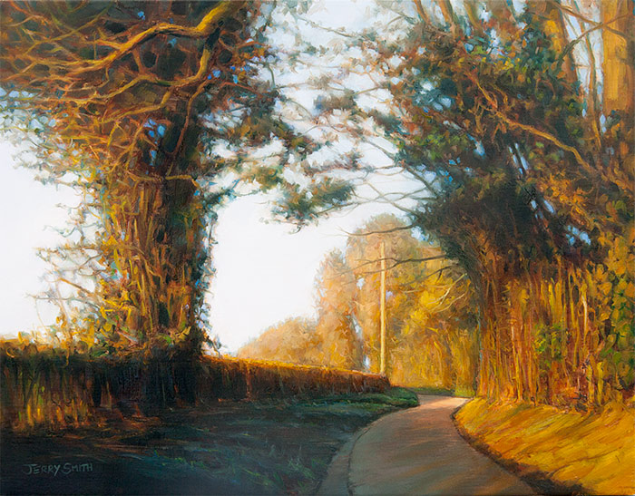 Mayhill Lane in Winter  - painting by Jerry Smith