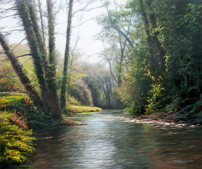 Meon River near Wickham - original painting by Jerry Smith