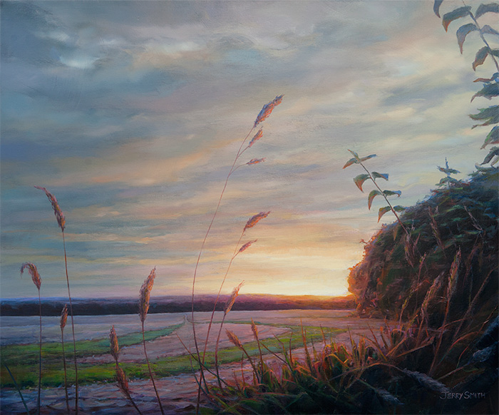 Upper Swanmore Sunset  - painting by Jerry Smith