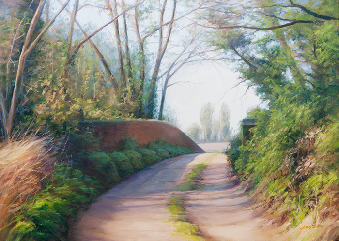Over the old Wickham railway line  - painting by Jerry Smith