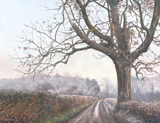 Upper Swanmore Winter - original painting by Jerry Smith