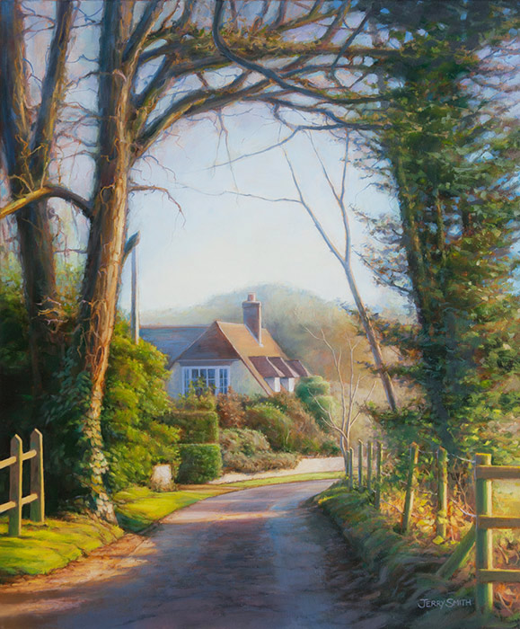 Mayhill Lane Winter Light  - painting by Jerry Smith