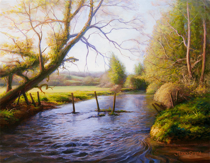 Meon River in Spring  - painting by Jerry Smith
