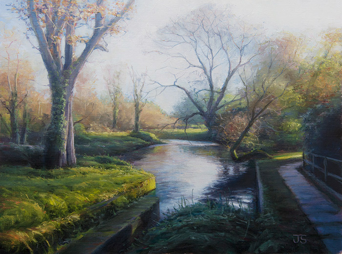 Evening light at Droxford Mill  - painting by Jerry Smith