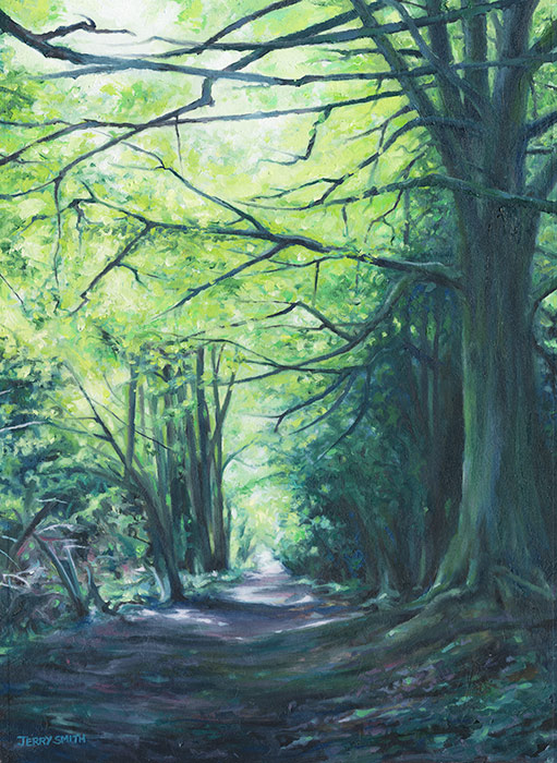 Bridleway near Dundridge - original painting by Jerry Smith