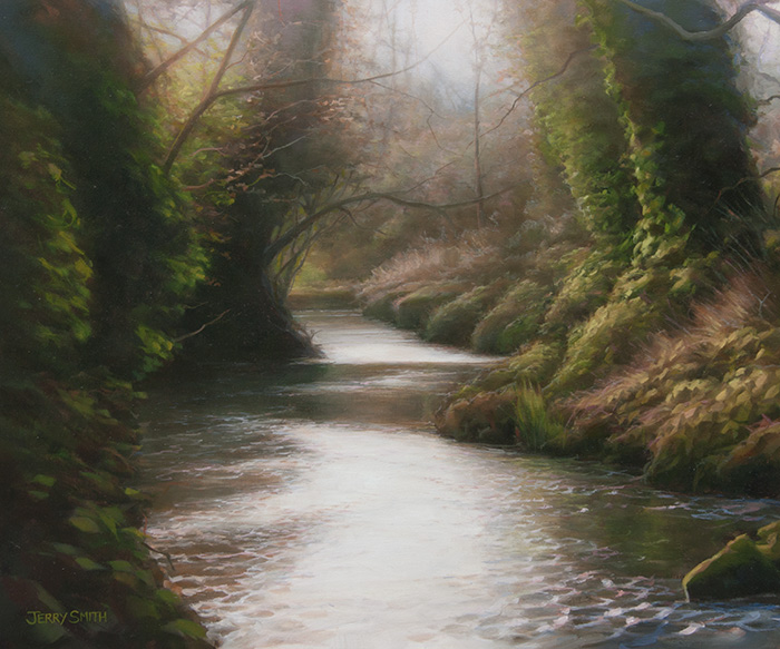 Meon River near Droxford - original painting by Jerry Smith