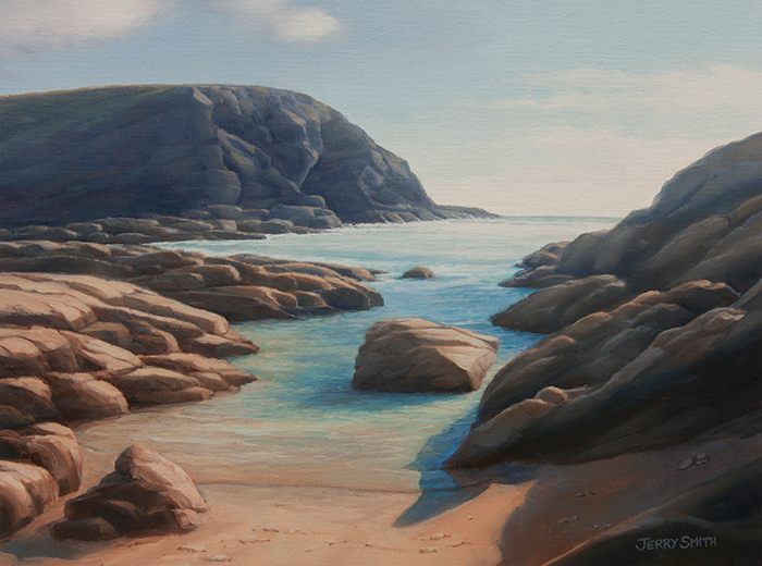 Dollar Cove, Lizard, Cornwall - original painting by Jerry Smith