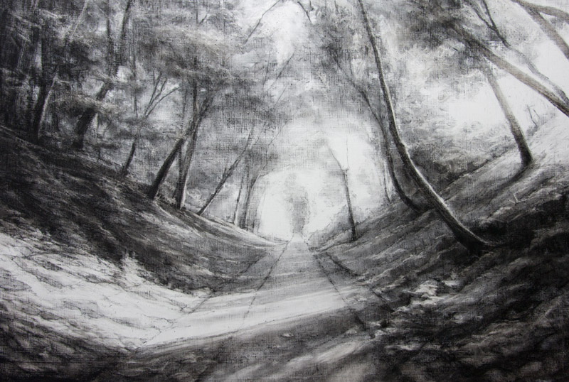 Meon Valley Trail near Soberton - original charcoal drawing by Jerry Smith