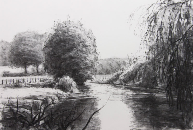 Meon River, St. Clair's Meadow - original charcoal drawing by Jerry Smith