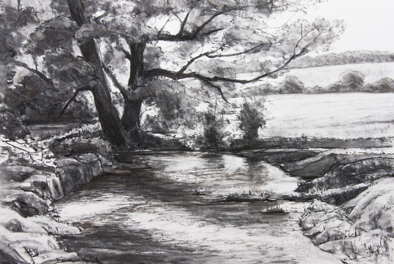 Meon River near Soberton - original charcoal drawing by Jerry Smith