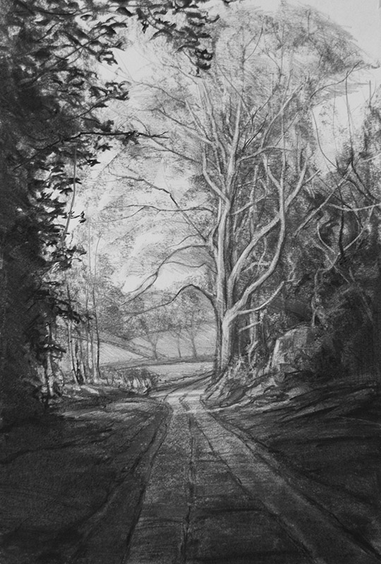 Riversdown Road - original charcoal drawing by Jerry Smith