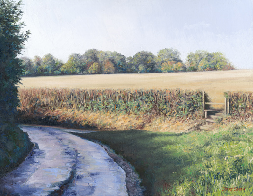 Top of Vicarage Lane  - painting by Jerry Smith