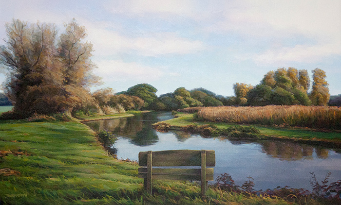 River Test Fishing Beat - original painting by Jerry Smith