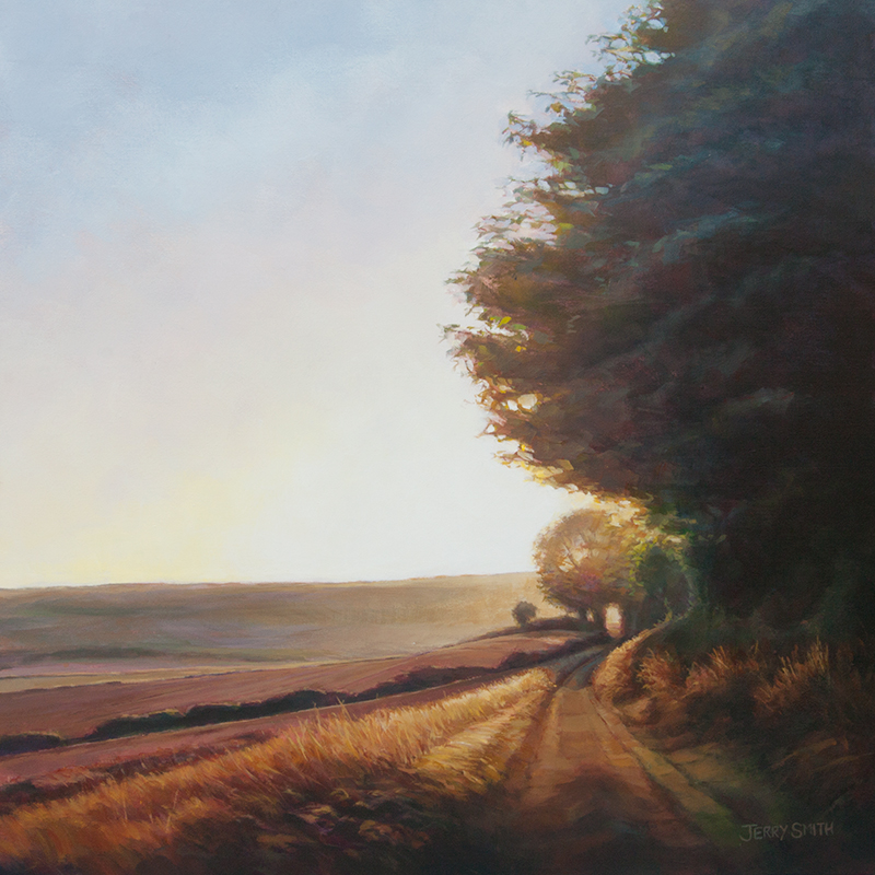 South Downs Way Sunset - original painting by Jerry Smith