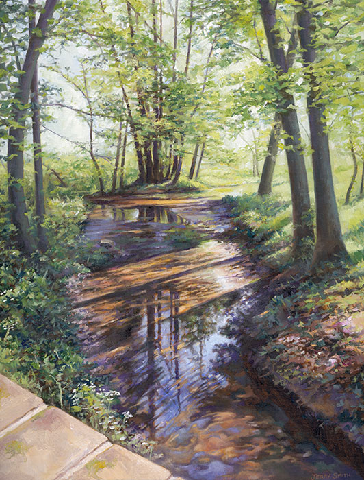 Stream near Soberton - original painting by Jerry Smith