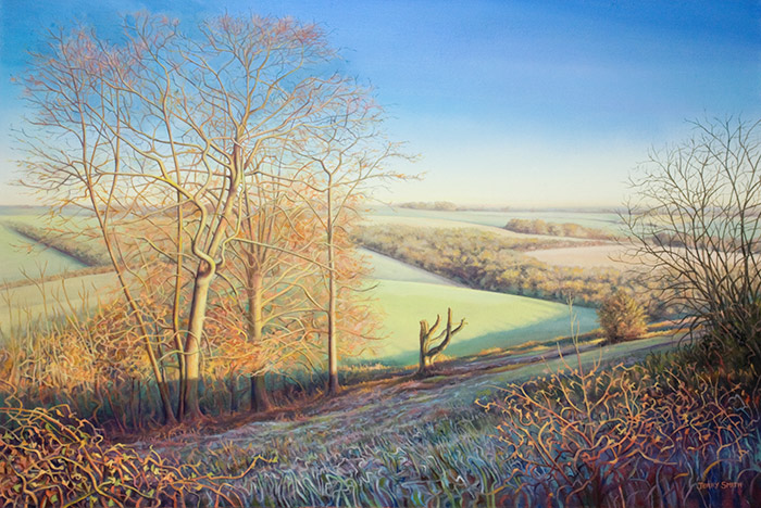 View from Beacon Hill in winter - original painting by Jerry Smith
