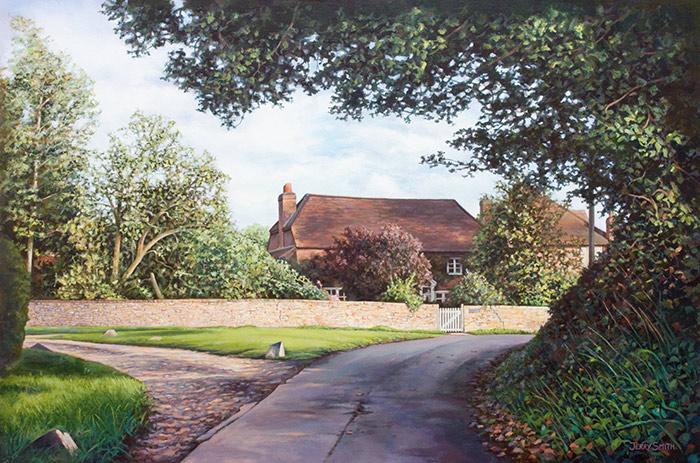 Dahlia Cottage, Upper Swanmore - original painting by Jerry Smith