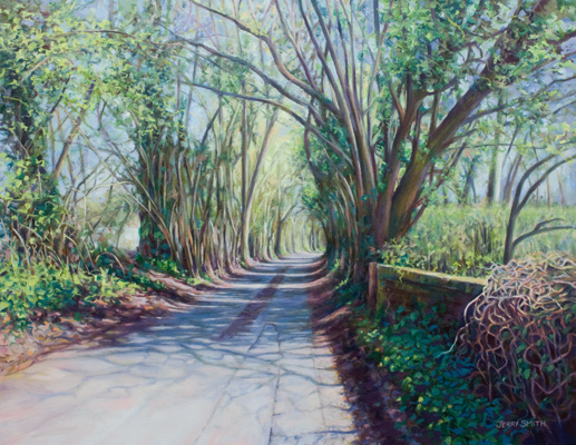 Spring light on Cott Street, near Swanmore - original painting by Jerry Smith