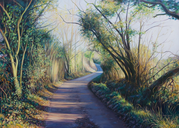 Church Lane, Swanmore  - painting by Jerry Smith