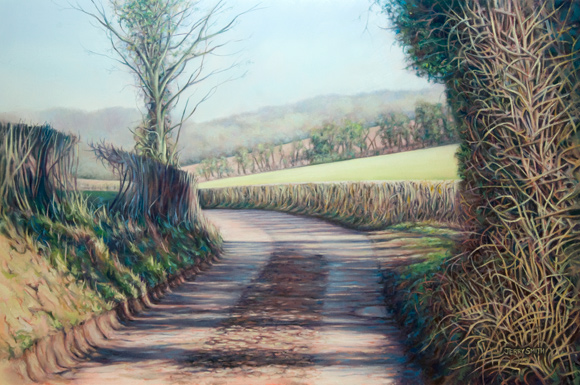 Winter sunshine, Mayhill Lane  - painting by Jerry Smith