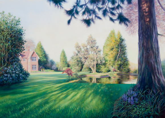 The Old Vicarage Garden  - painting by Jerry Smith