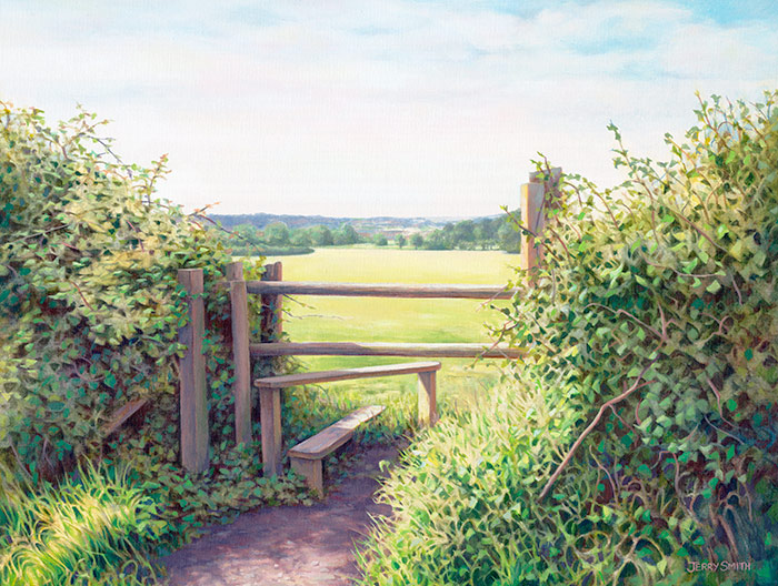 Swanmore Stile - original painting by Jerry Smith