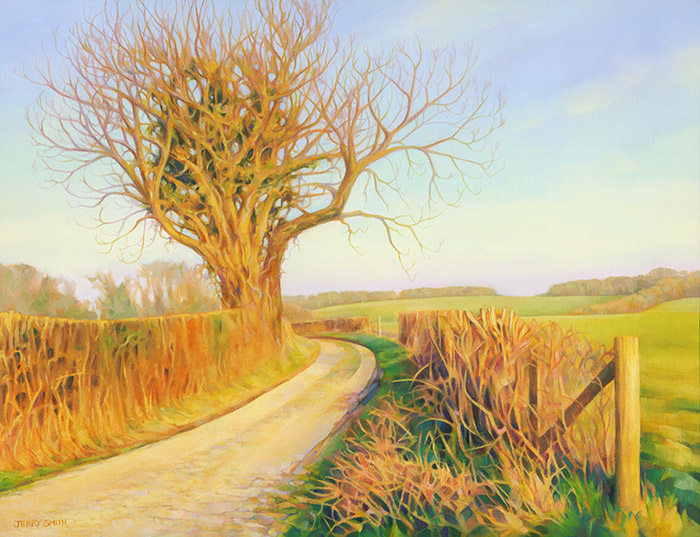 Early Spring Evening on Green Lane - original painting by Jerry Smith