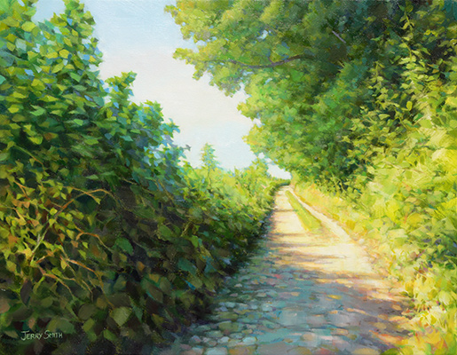 Warm and cool on Green Lane  - painting by Jerry Smith