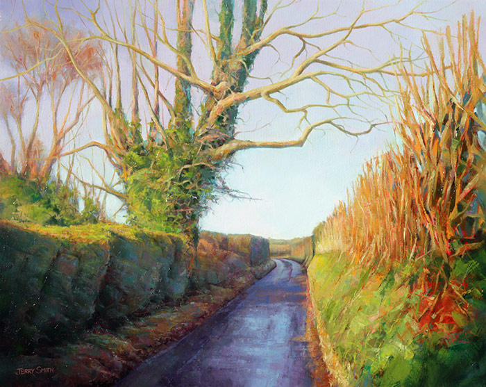 Vicarage Lane  - painting by Jerry Smith